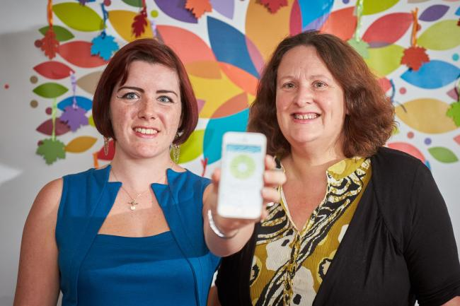 Risks: Sammy Ashby, policy and development officer , left, with the EpSMon app, with Jane Hanna OBE