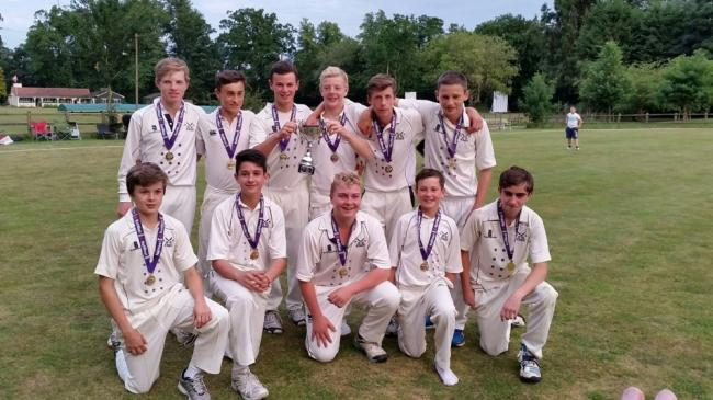Aston Rowant lads celebrate winning the Oxfordshire Under 15 title
