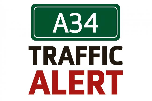 A34 partially blocked after multi-car crash