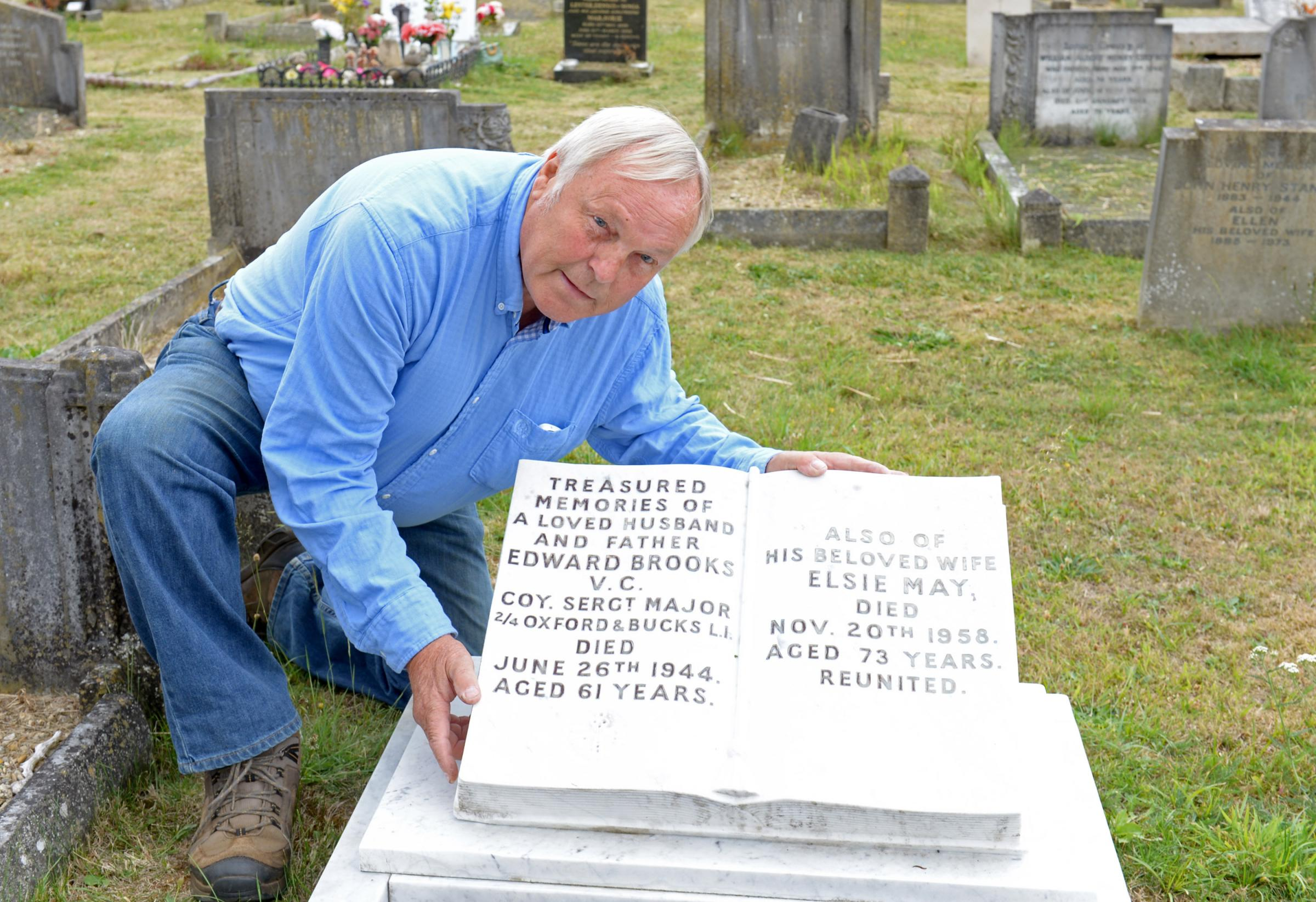 Keith Brooks, grandson of Victoria Cross hero Edward Brooks, at his grave at Rose Hill cemetery