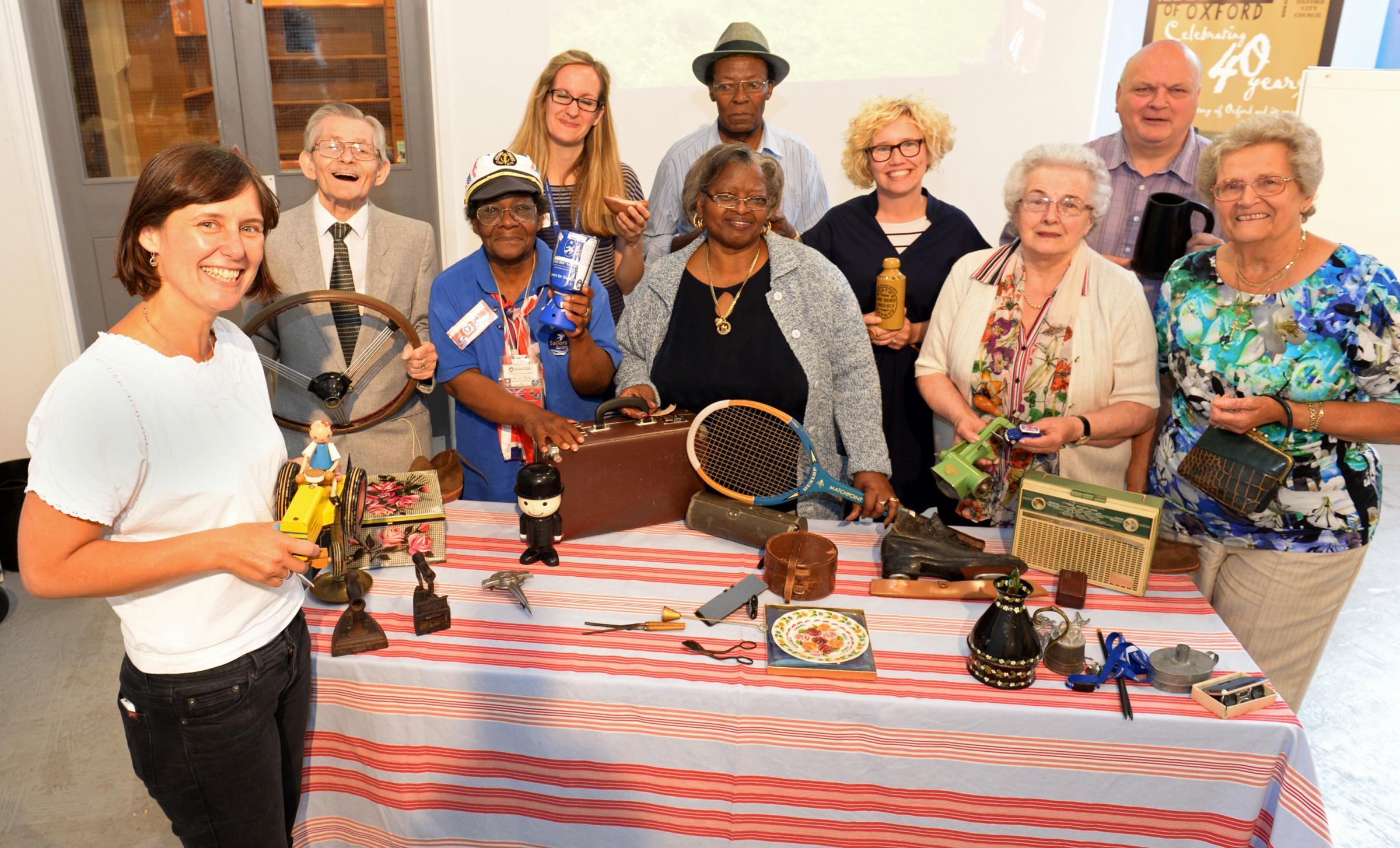 Living history: Front left, Jeni Burnell with Eric Hall, Irma James, Antonia Harland-Lang, Walter Spencer, Cora Spencer,  Lisa Heledd Jones,  Isabella Williams, John Humphries and Dorothy Gardner with their exhibits