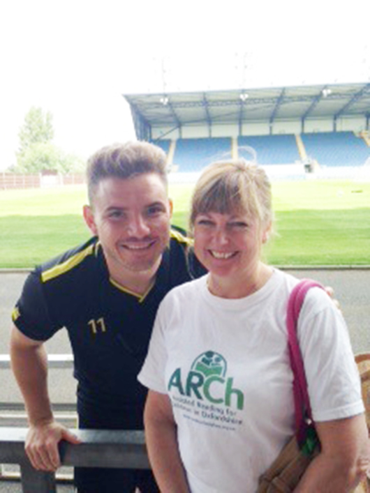 Star turn: Elaine Adams, of ARch, with Oxford United's Alex MacDonald
