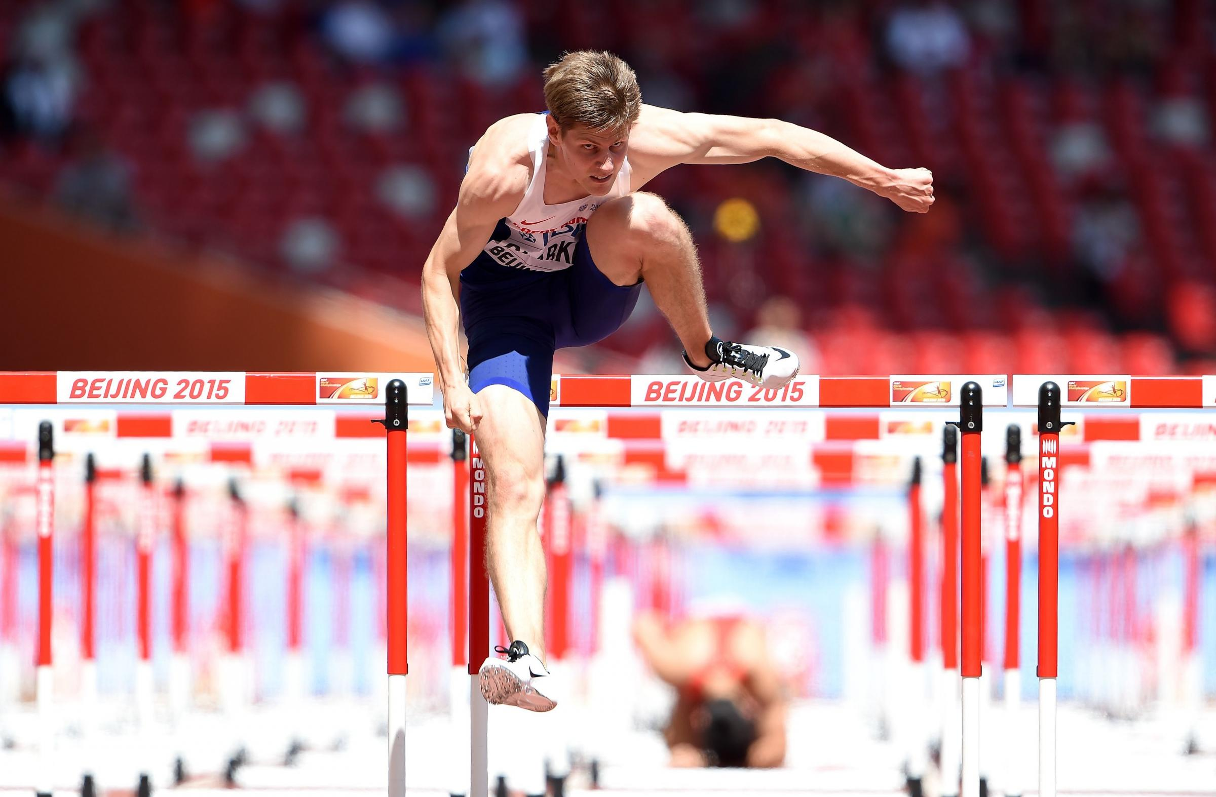 Lawrence Clarke on his way to qualifying for the semi-finals of the 110m hurdles at the IAAF World Championships in Beijing