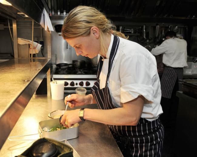 Emily Watkins cooking up a dish for the BBC's Great British Menu