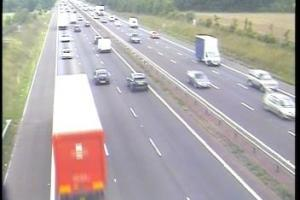 Traffic building after electrical fire on M40 near Bicester