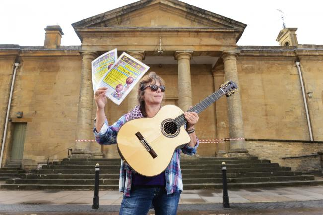 Performance: Jo Davies of FiddleBop outside Chipping Norton Town Hall