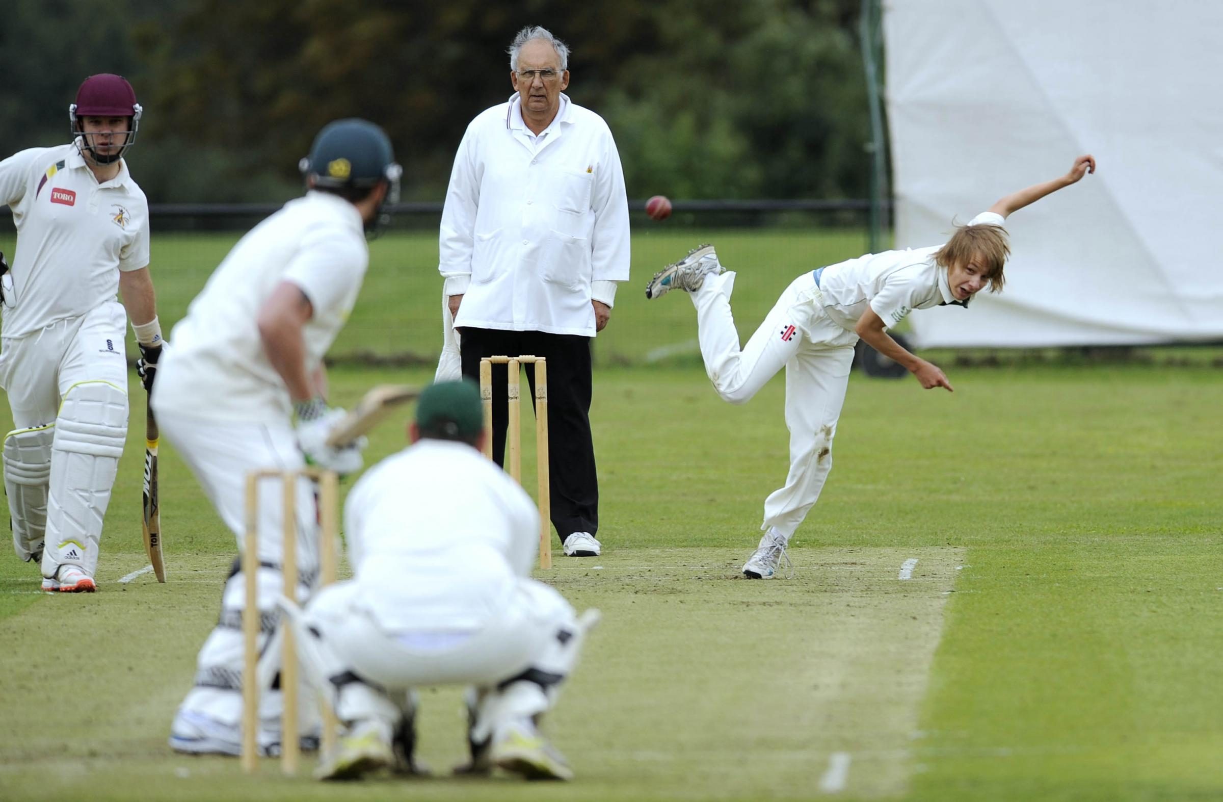 Chipping Norton bowler Danny Molyneux sends down a delivery in their nine-wicket success against Farindgon in Division 2 Pictures: David Fleming