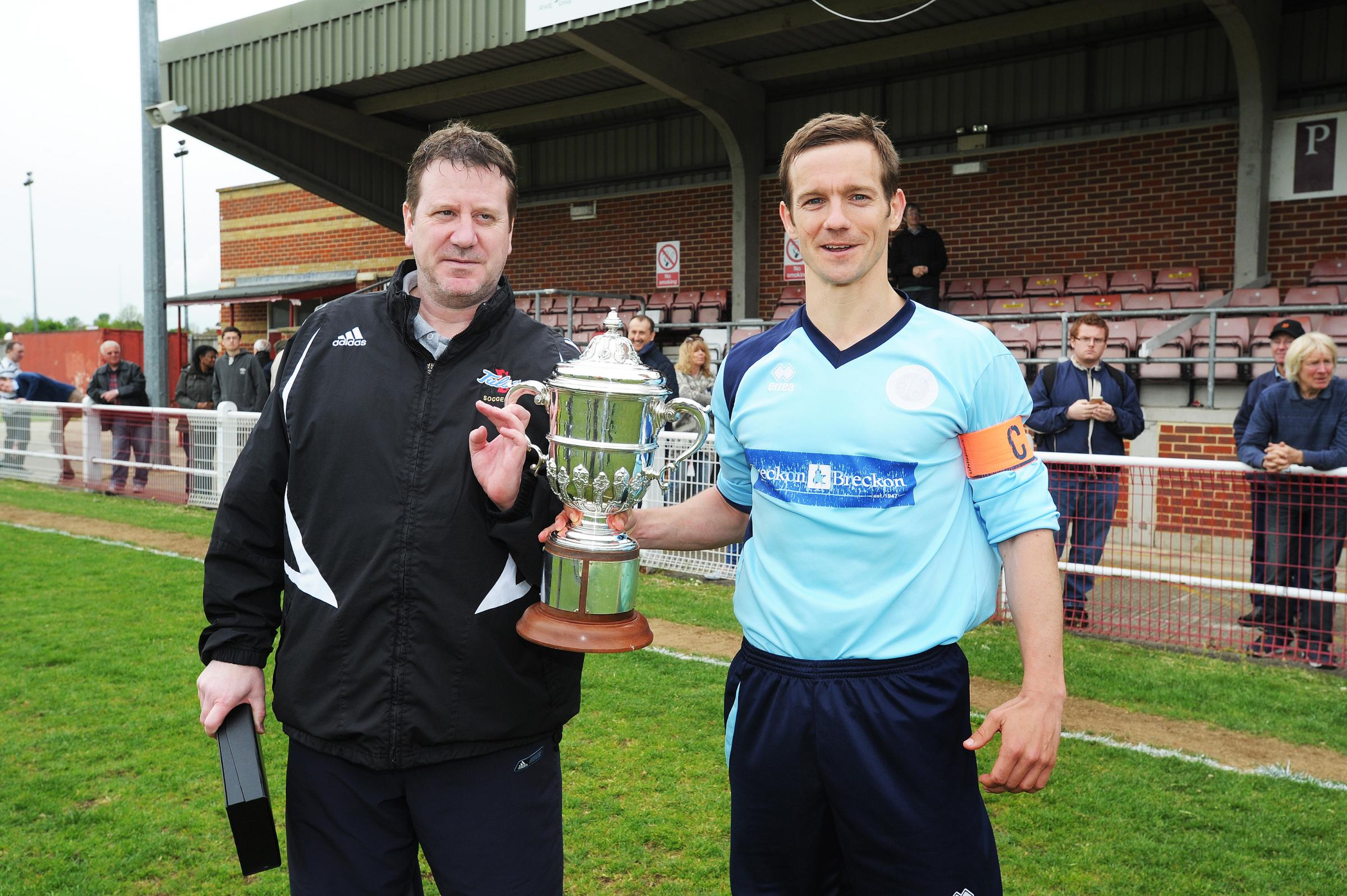 Kevin Brock (left) after Ardley won May's Hellenic League Challenge Cup, with Ollie Stanbridge, who is now helping to pick the team