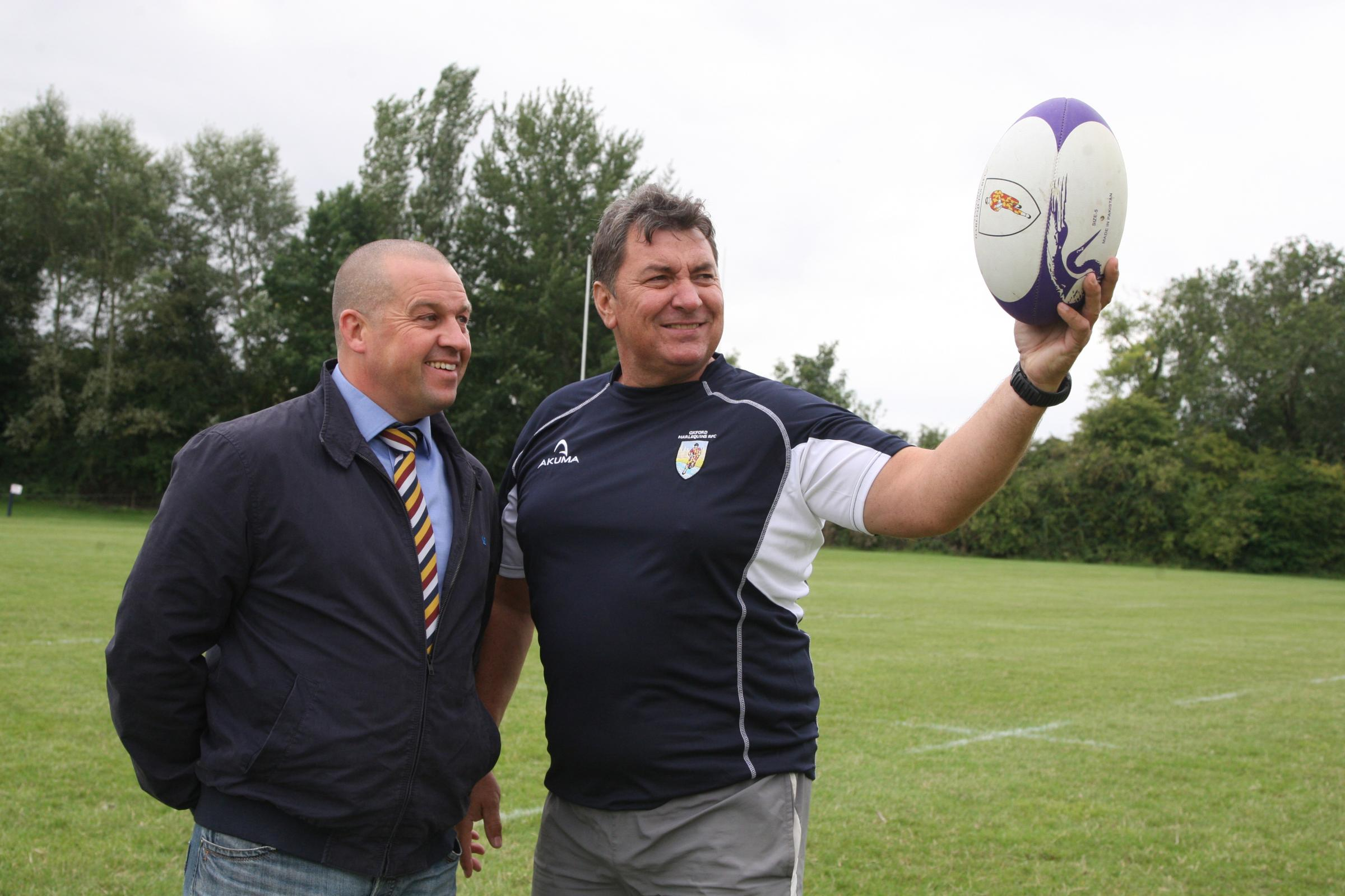 Oxford Harlequins chairman Neil Hopper (left) with head of rugby Alan Hancock, who will see their club play a home match at Marston Ferry Road on Saturday for the first time in seven years   Picture: Steve Wheeler