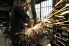 Festival of bells: Sparks fly from Whites of Appleton craftsmen who will be carrying out the repairs