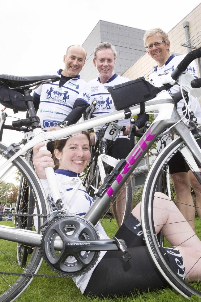 Charity champions: Michelle Rutledge, front, with back from left, Nicj Maynard, Simon Davidmann and Bob Marshall at the Churchill Hospital