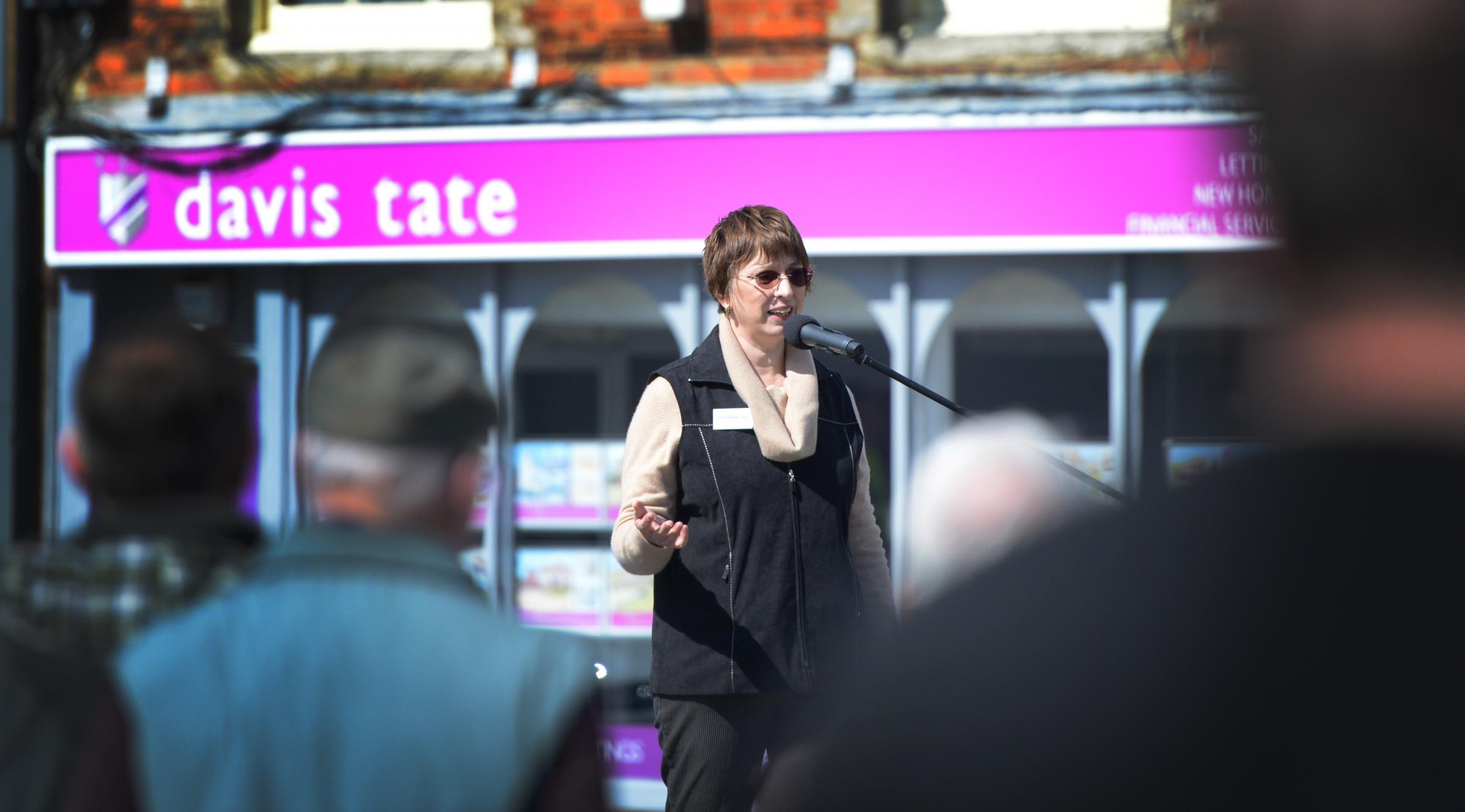 Concerns: Julie Mabberley addresses a rally protesting about large housing developments in Wantage