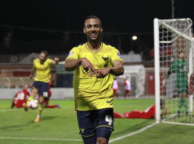 Oxford United top scorer Kemar Roofe celebrates his goal at York City
