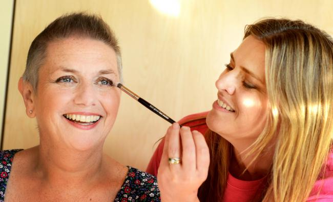 Judith Nicklin has a make-up lesson from Heidi Bannister, regional co-ordinator of Look Good Feel Better in Oxford, at Maggie's Centre, based at Churchill Hospital