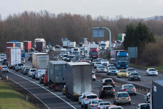 M40 closed both ways after crash. M40 stock photo