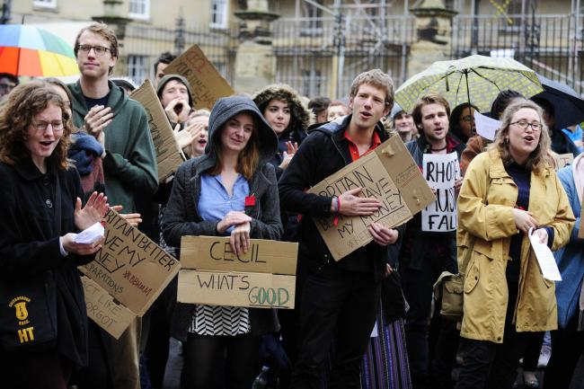 Oxford students gather to protest against statue of politician Cecil Rhodes