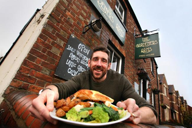 Tasty: The Gardeners Arms landlord Paul Silcock with one of the most popular dishes on the menu, a mushroom pie