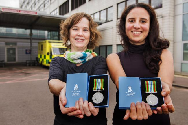 Bravery: Dr Bethan McDonald, left, and Dr Laura Lopez Pascua with their medals