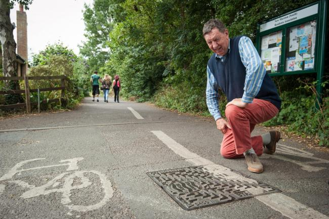 Problems: Roy Darke at the entrance to the cycle path at the top of Ferry Road, Marston