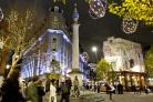The Seven Dials area lit up in all its splendour
