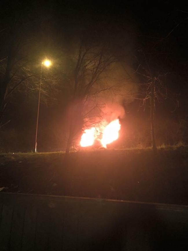 Car on fire outside Redbridge Hollow travellers' site near Oxford