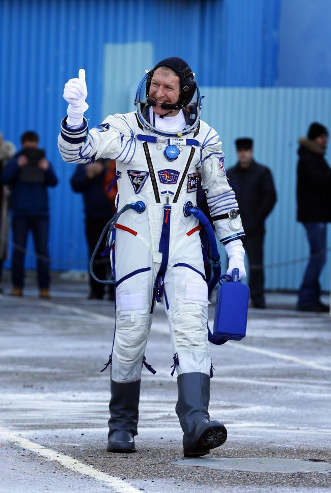 Intrepid: British astronaut Tim Peake suited up before the launch to the International Space Station