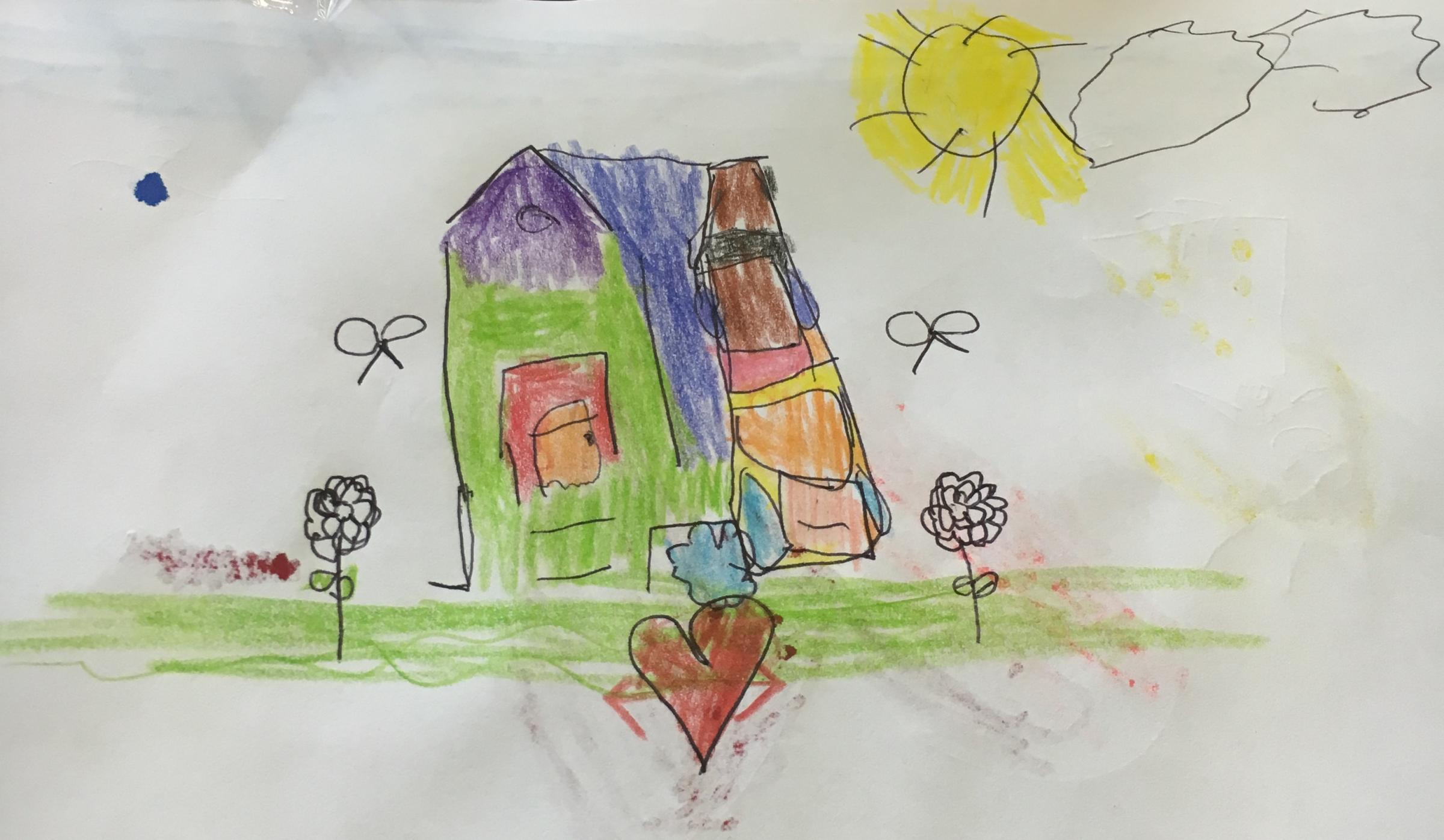 A picture drawn by one of the refugee children of their new home in Oxford