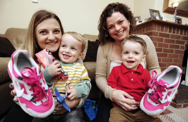 Rachel Payne, 32, with son Ralph, two, and Rebecca Clarke, 30, with son Remy, two. The mums were the OX5 Run's top fundraisers last year and have again signed up for the big race