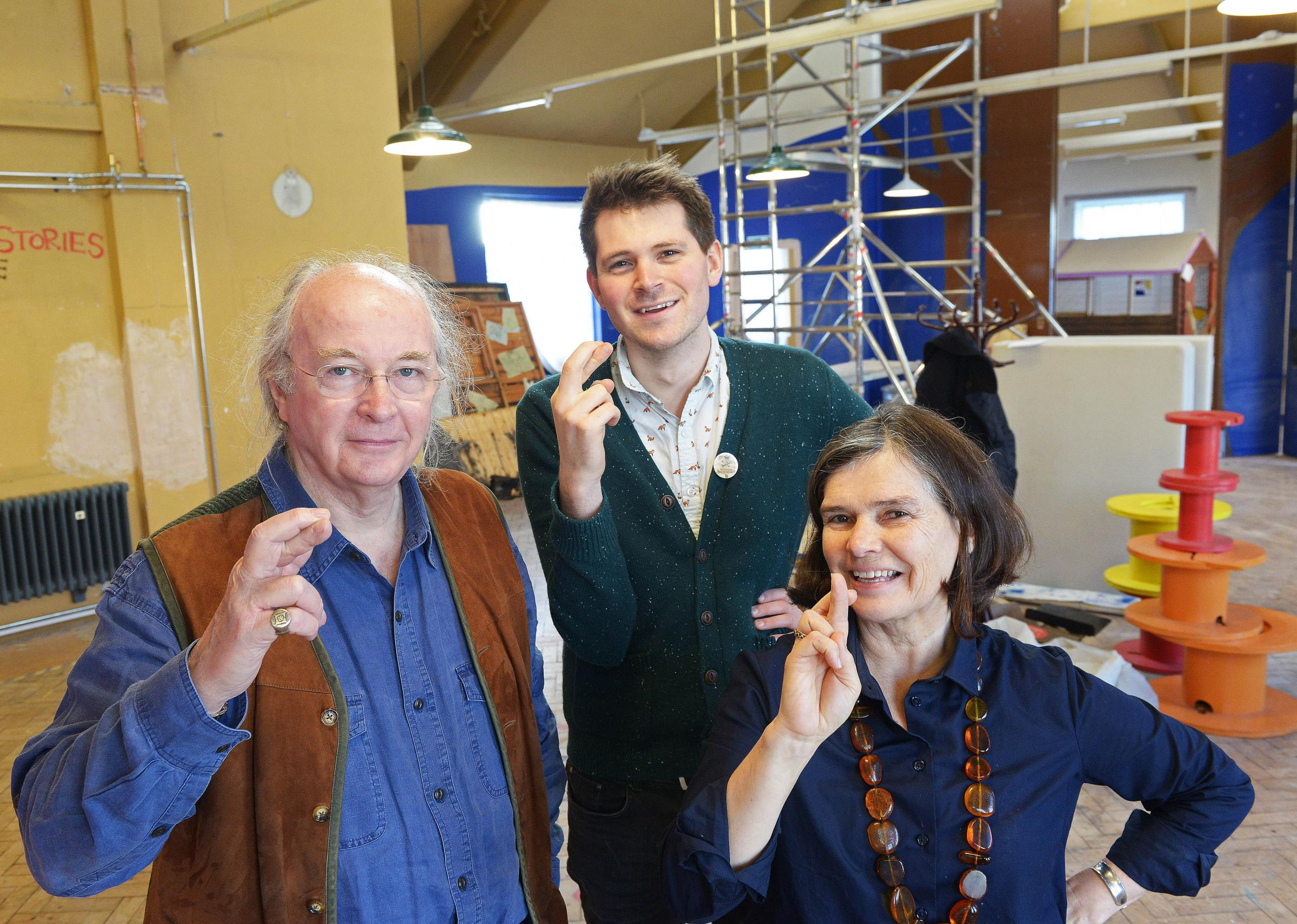 Author Philip Pullman with The Story Museum's marketing officer David Gibb and co-director Tish Francis