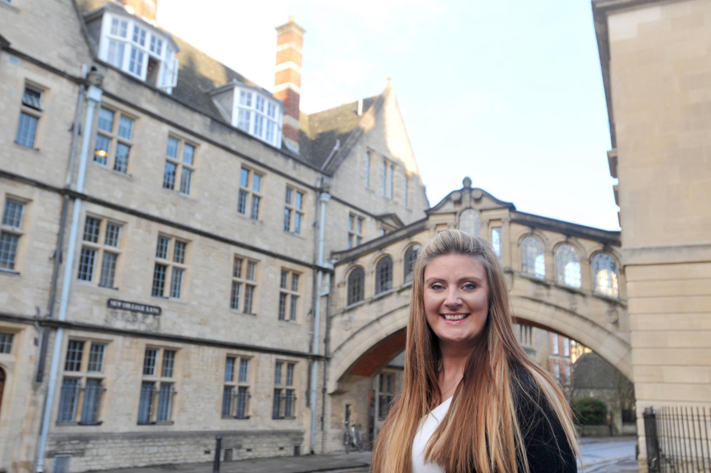 Hayley Beer-Gamage, chief executive of Experience Oxfordshire, by the Bridge of Sighs in Oxford