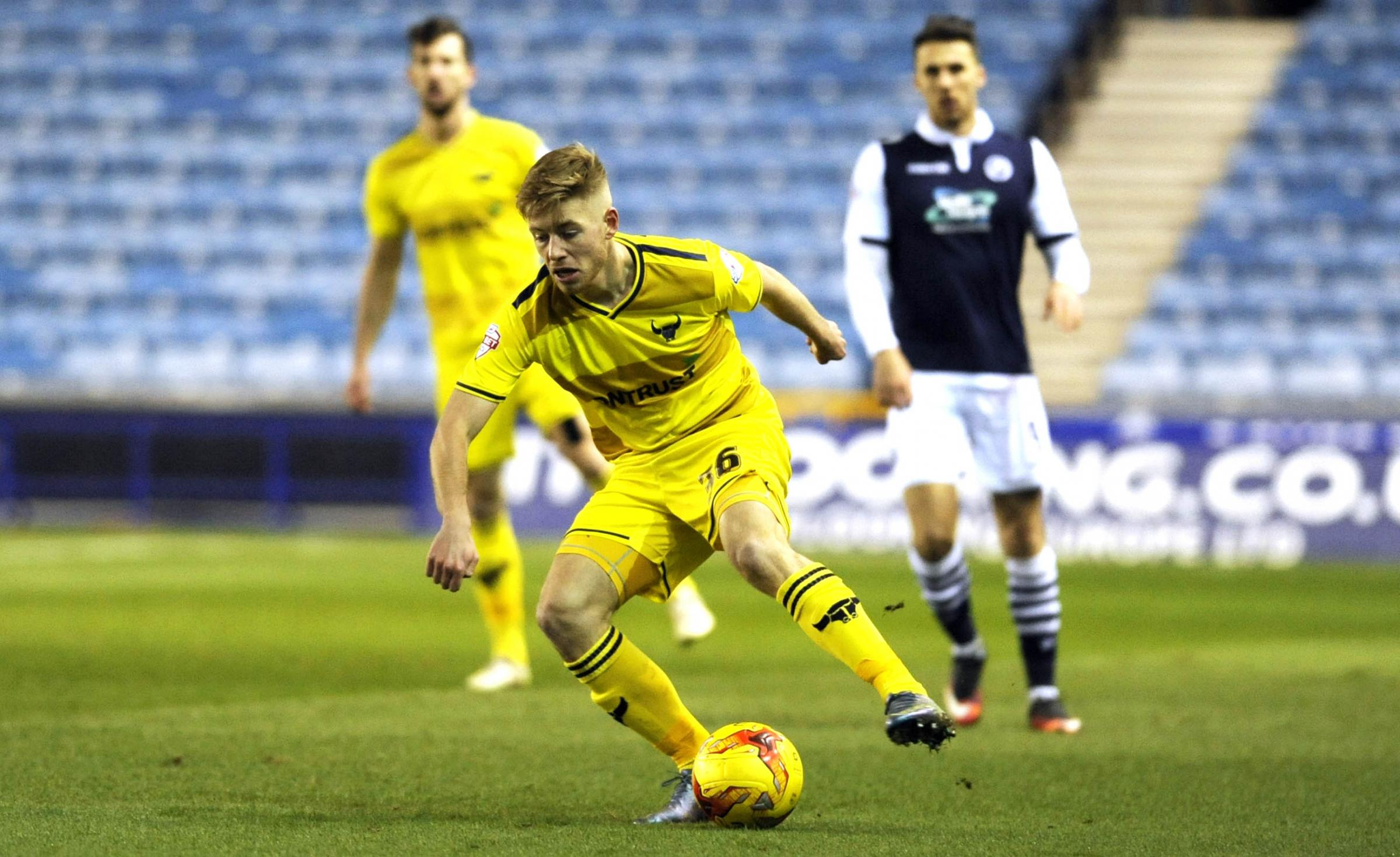 Jordan Evans in action for Oxford United at Millwall last night Picture: David Fleming