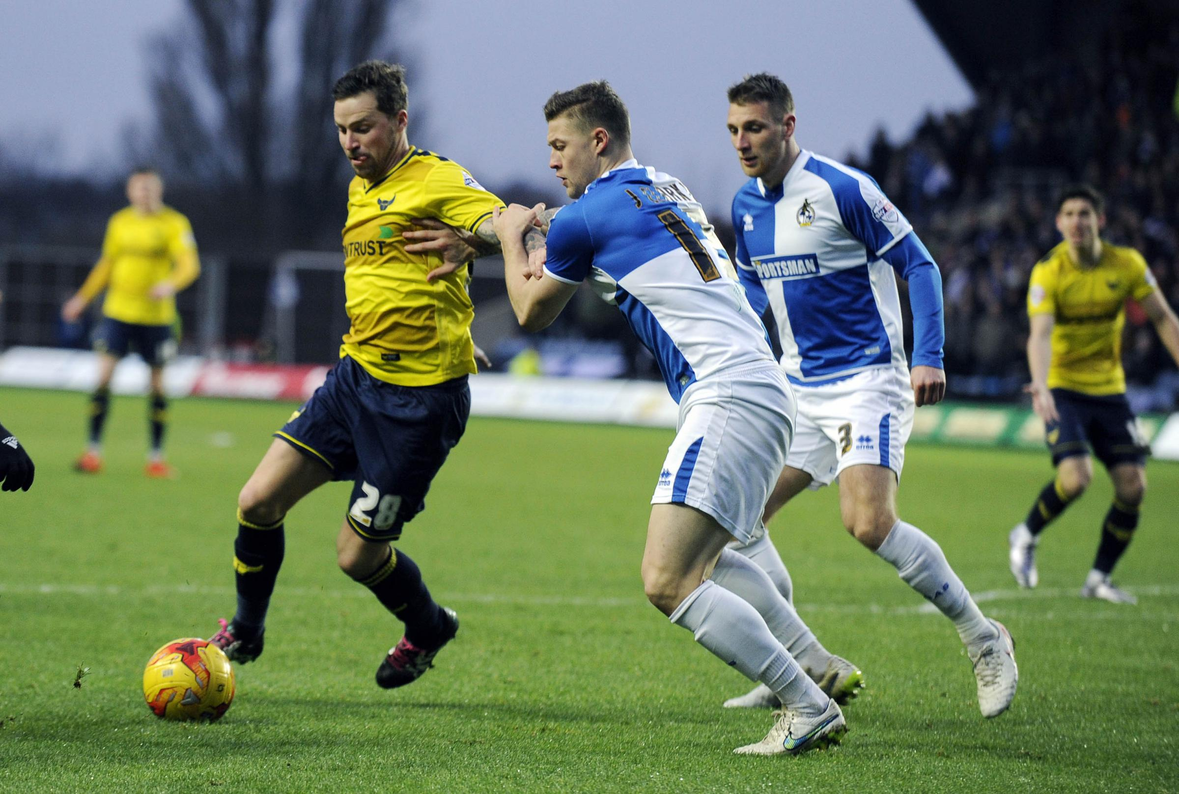 Chris Maguire in action for Oxford United on Sunday, which was the final appearance in his loan spell Picture: David Fleming