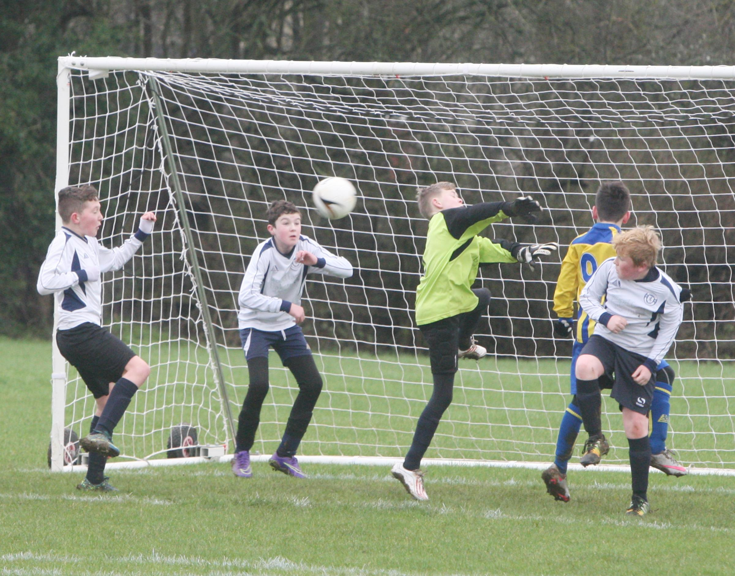 Horspath Lions keeper Evan Harris punches clear in the 0-0 draw with Didcot Casuals in the Oxford Mail Youth Under 12 A League Picture: Steve Wheeler