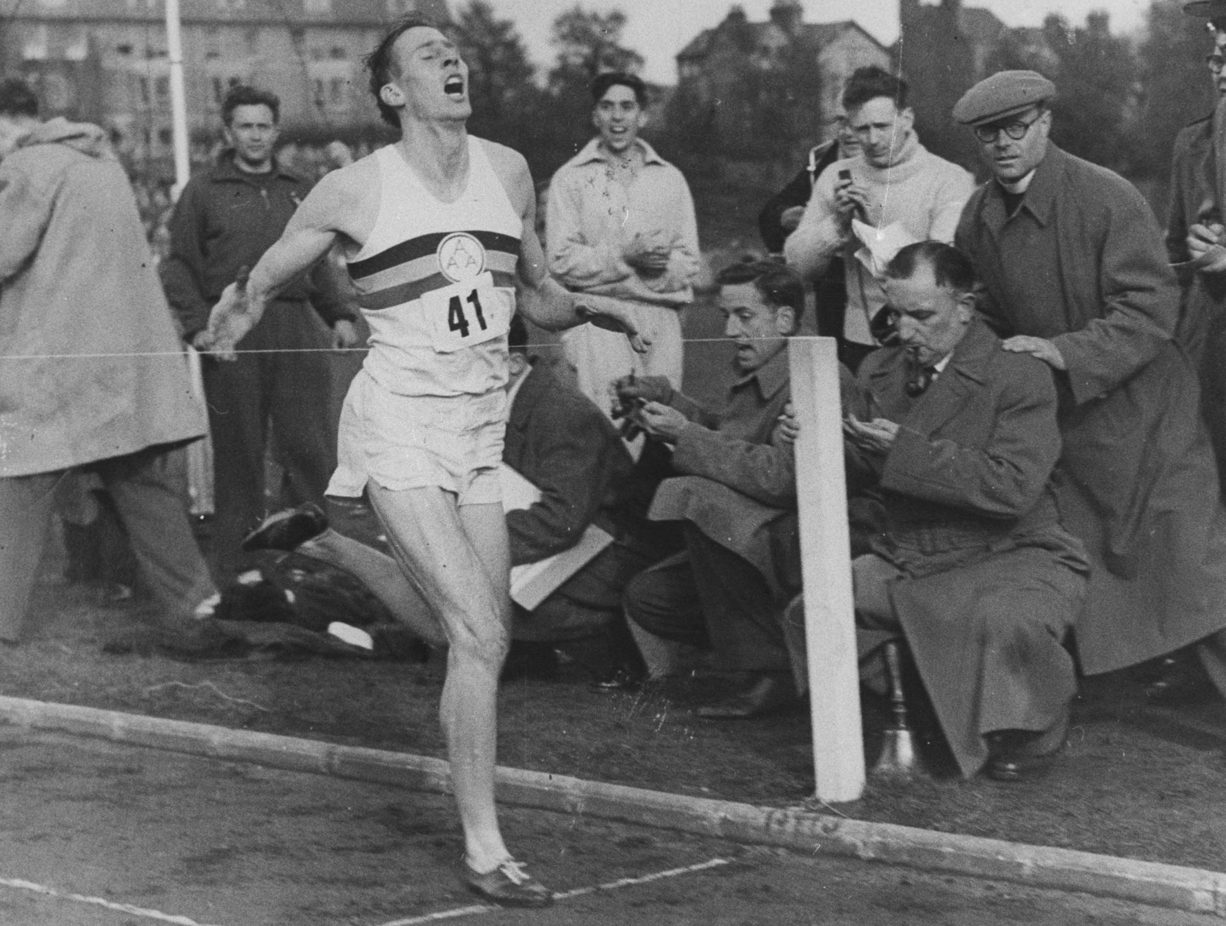 Roger Bannister breaking the four-minute mile in 1954