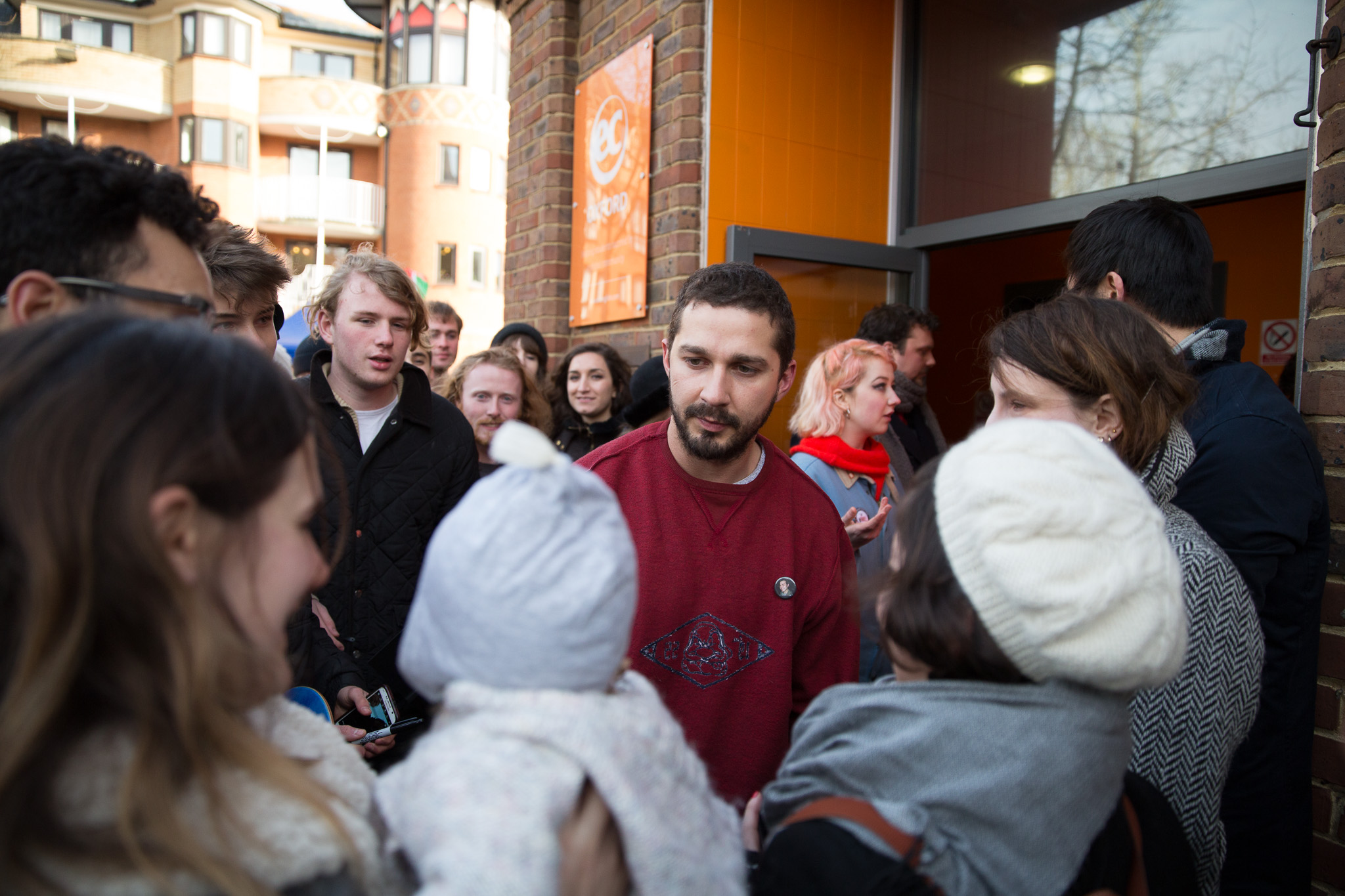 Transformers actor Shia LaBeouf greets fans as he finishes 24hr lift stunt