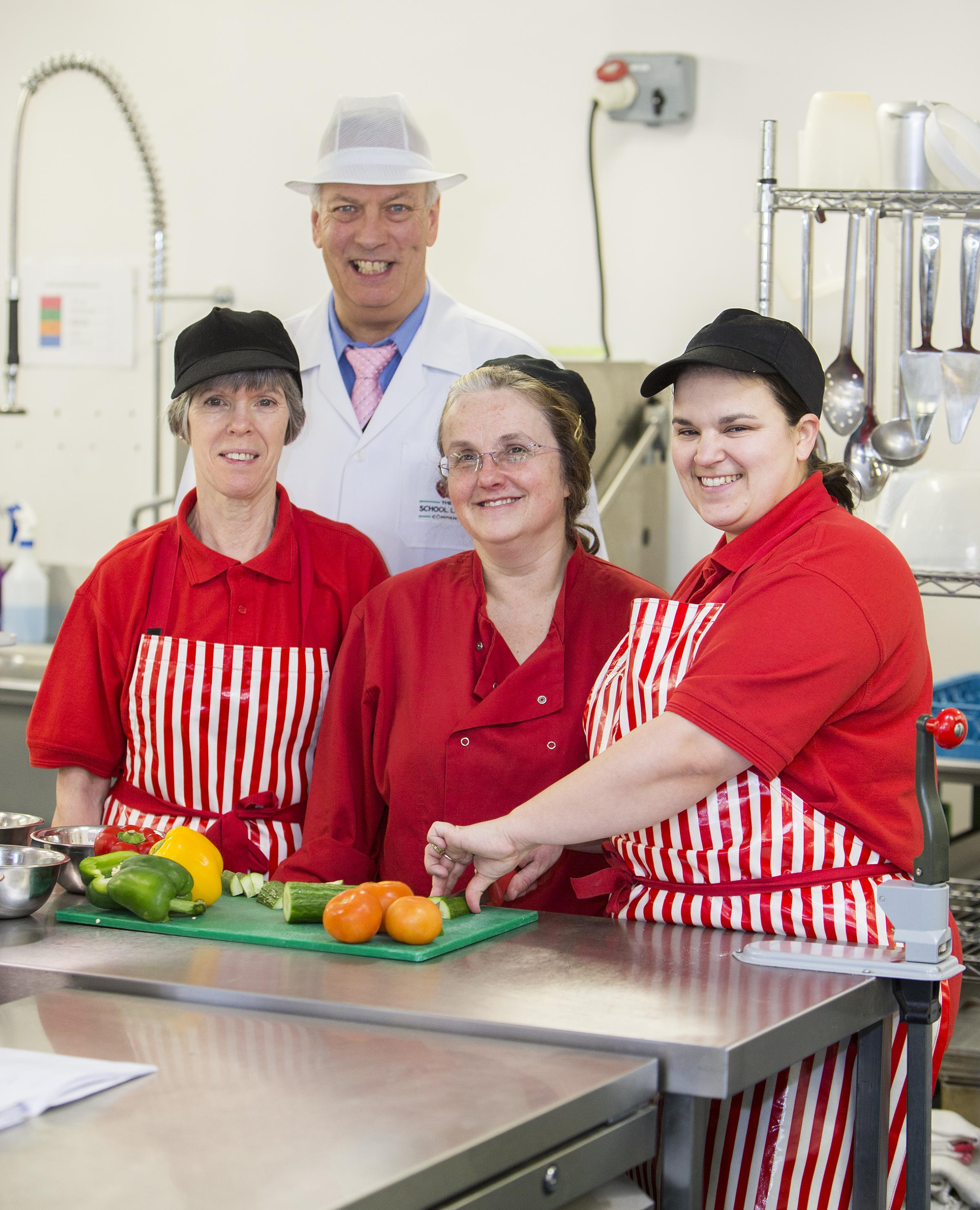 The School Lunch Company director, Les Redhead, with cooks Julie Bushnell, Julie White and Melissa Salmon