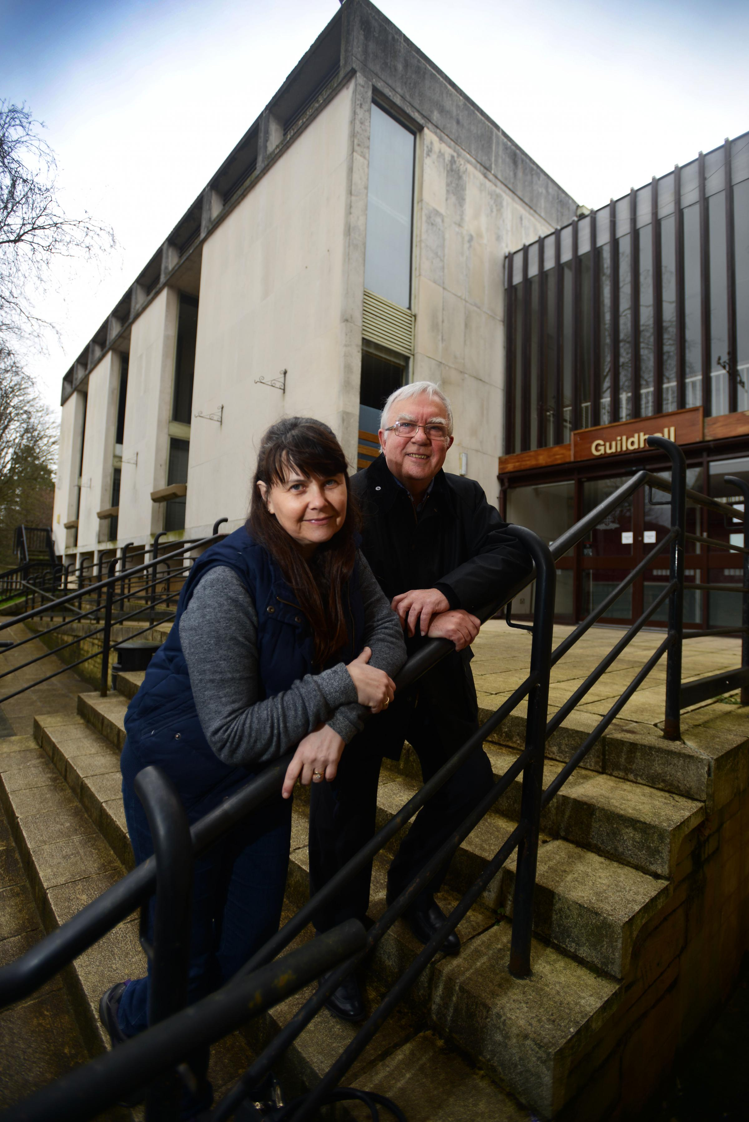 Abingdon town councillors Jan Morter and Dennis Garrett outside the Guildhall which the council plans to revamp, providing upgraded facilities including a cinema and a cafe