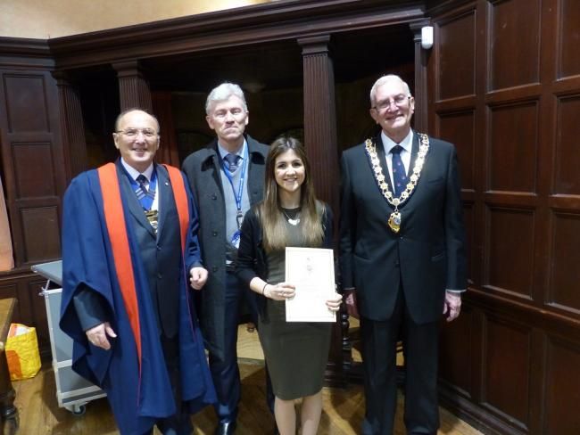 Stephanie Rockett with Freemen of Oxford chairman Howard Crapper, Oxford City Council apprenticeships manager Jarlath Brine and Freemen awards secretary John Sanders