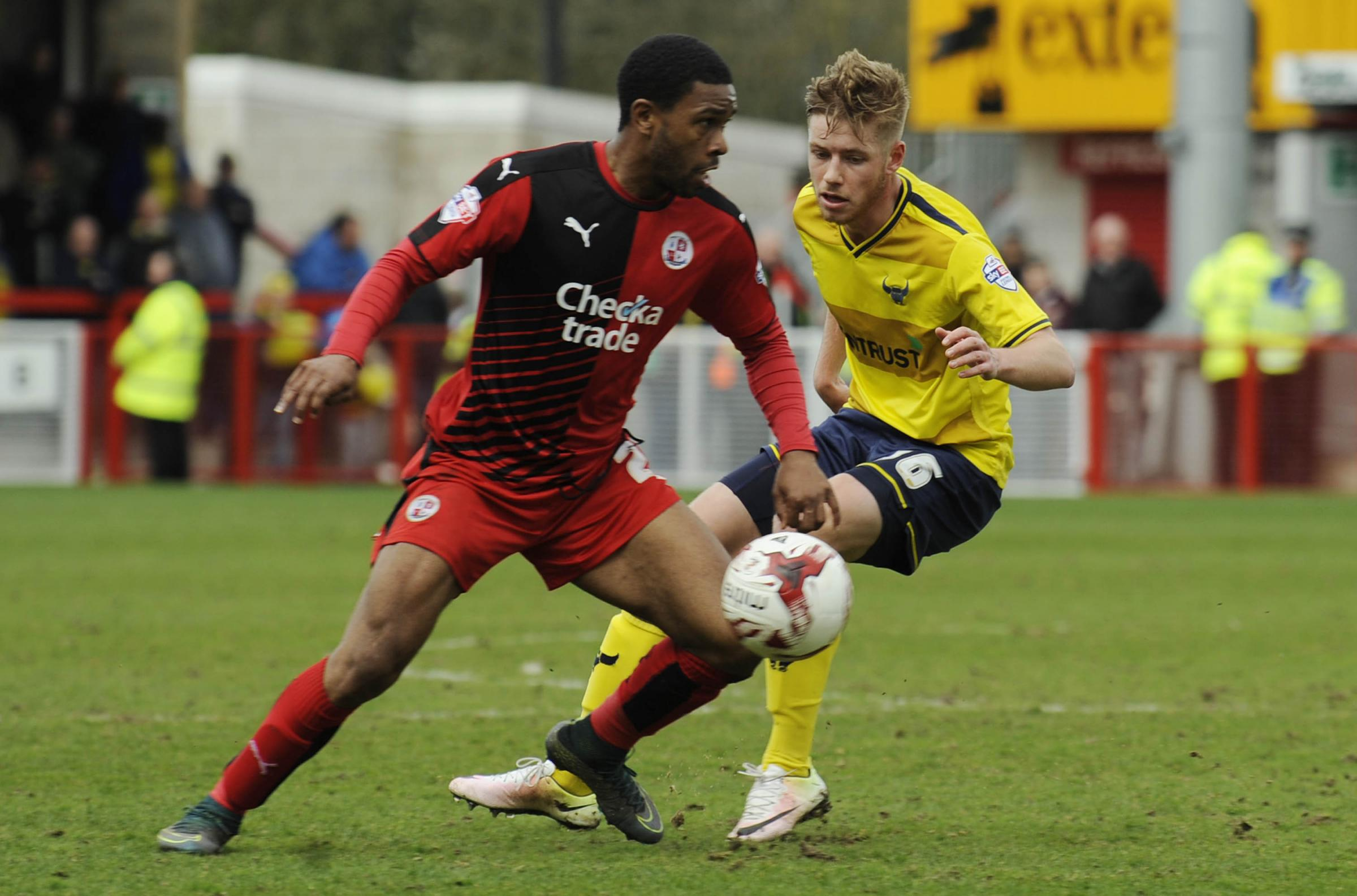 Jordan Evans battles for the ball during Oxford United's 5-1 win over Crawley Town Picture: David Fleming