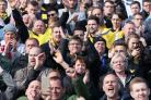 Oxford United chairman Darryl Eales on the terrace among Oxford United's 2,238 travelling fans at Carlisle United  Picture: Richard Parkes