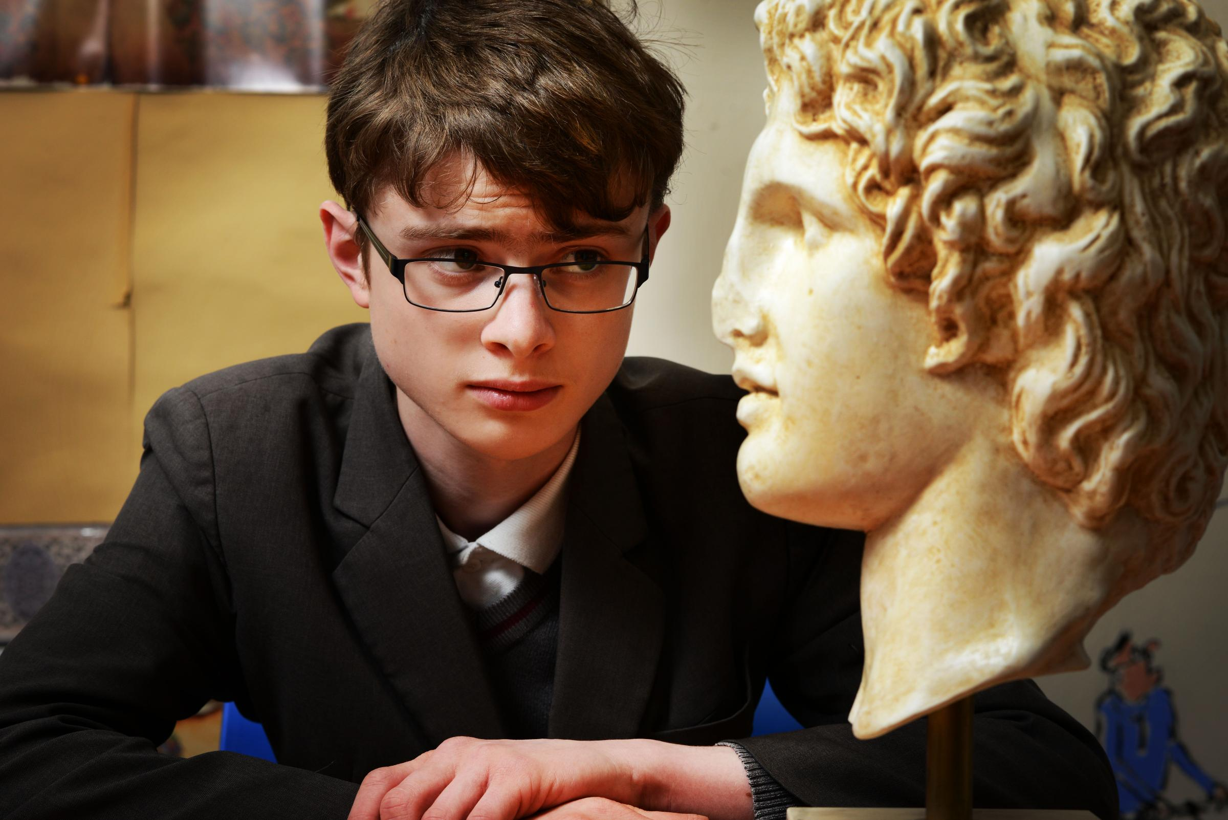.Leonard Cowee (14) with replica bust of Alexander The Great.