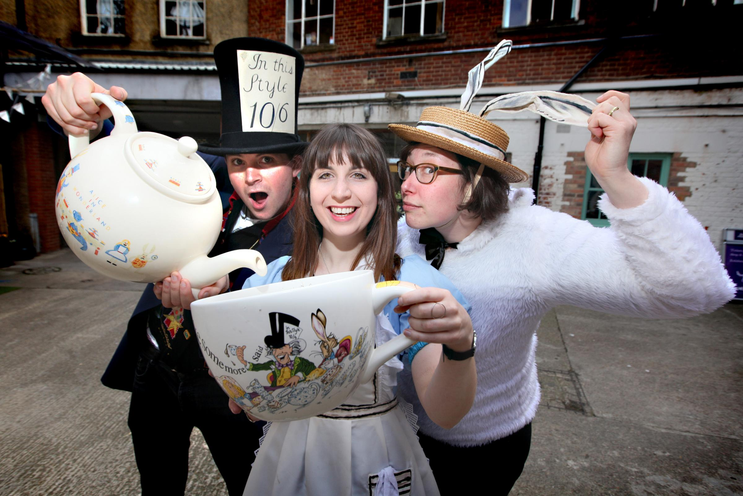 The Story Museum, including David Gibb as the Mad Hatter, Lauren Greenaway as Alice and Micaela Tuckwell as the White Rabbit, has already set up a Mad Hatter's Tea Party exhibition ahead of this year's Alice's Day festivities.