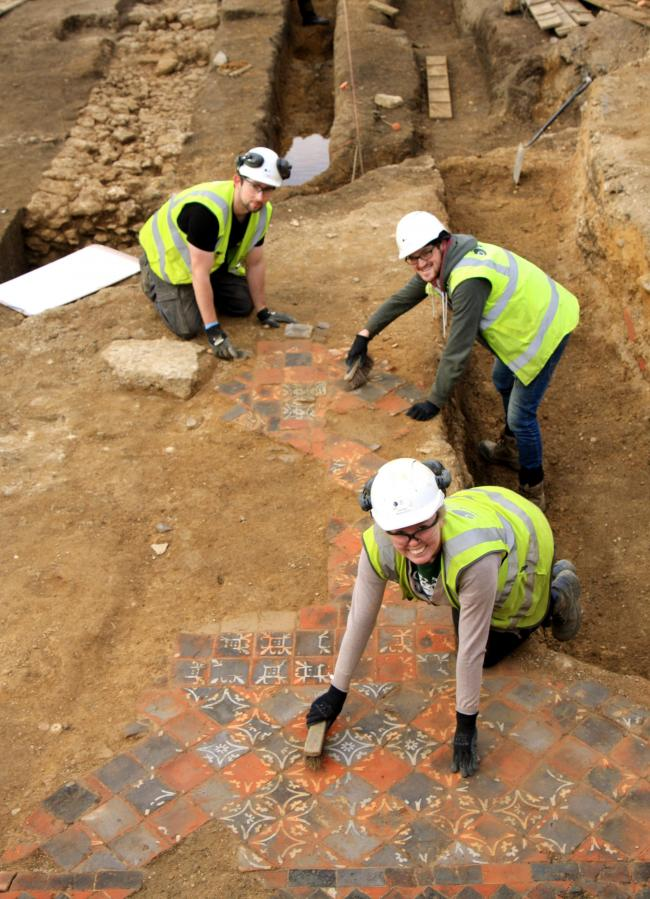 Archaeologists at the dig site where the Westgate Shopping Centre is being redeveloped.