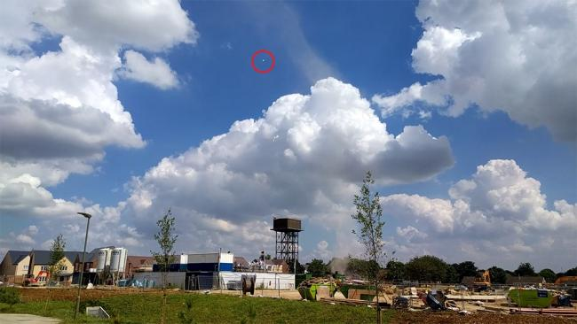 The dust devil in Upper Heyford with a piece of debris circled
