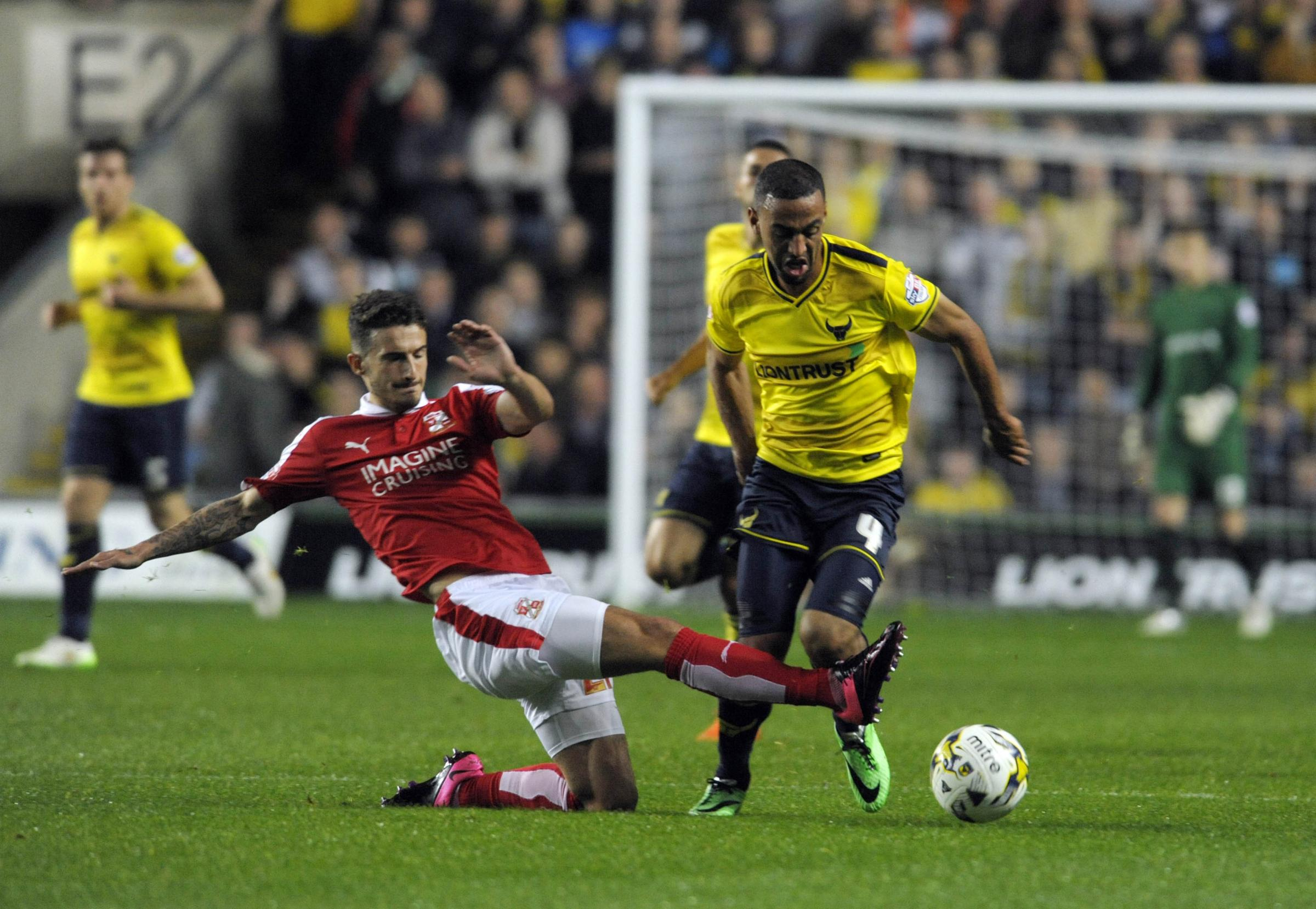 Kemar Roofe breaks clear in United's JPT win over Swindon Town last year
