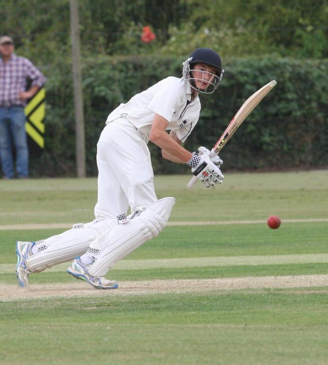 Olly Clarke plays the ball into the off side during his patient 39 for Oxfordshire Under 17s in their semi-final win over Leicestershire Picture: Steve Wheeler