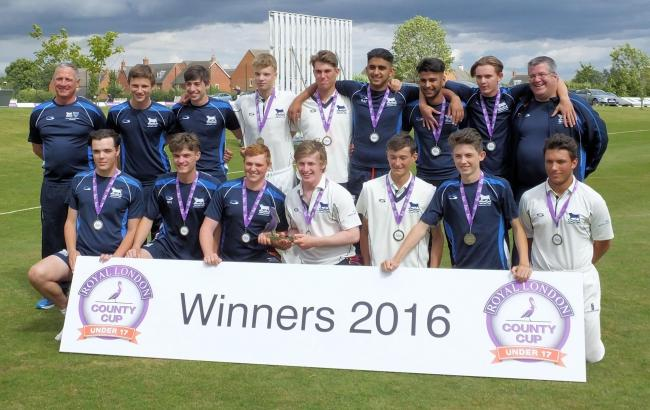 Oxon Under 17s celebrate winning the ECB's Royal London Cup. Back (from left): Darryl Woods coach, Alex Chapman, Sam Powell, Ben Charlesworth, Max Smith, Asad Rafiq, Charan Chahal, Luke Cheshire, Kieren Bushnell manager. Front: Andy Francis, Will Hawtin