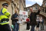 Mel Broughton of Speak leads the protest near the Sheldonian Theatre
