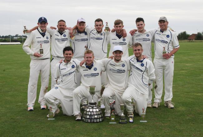 Hanborough celebrate their Telegraph Cup success over Eynsham in the final Picture Steve Wheeler