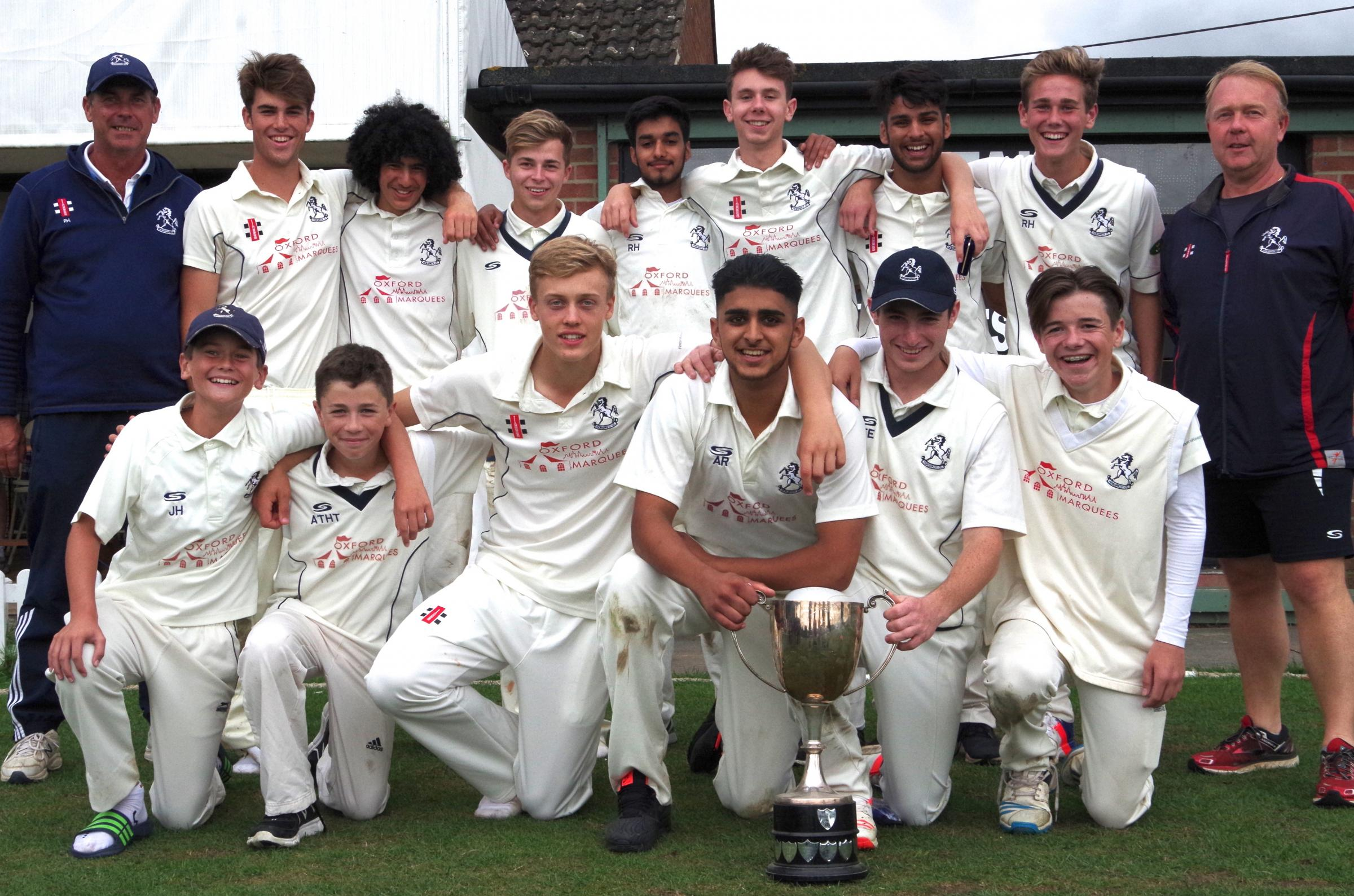 Horspath with the 'stand-in' trophy after winning the Oxfordshire Under 17 League. Back row (from left): Paul Hicks (assistant manager), Max Smith, Jahan Swain, Lloyd Belcher, Adeel Rehman, Jamie Wells, Charan Chahal, Ryan Hicks, Chris Jones (manager)